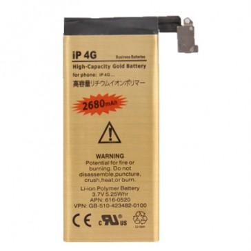 Batteria Alta Capacità Gold Business 2680mAh per iPhone 4 - Durata Doppia della Batteria