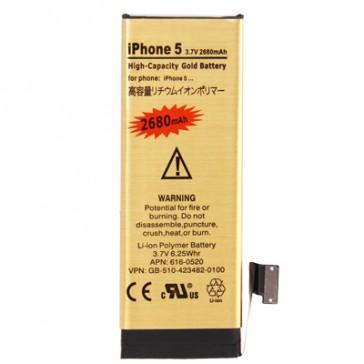Batteria Alta Capacità Gold Business 2680mAh per iPhone 5 - Durata Doppia della Batteria