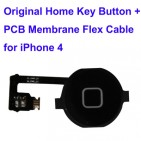 Home Button con Flex per iPhone 4 (Nero) - ORIGINALE