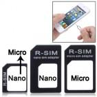 Adattatore Nano SIM a Micro SIM Card + Micro SIM a Standard Card + Nano SIM a Standard Card + Sim Card Nero